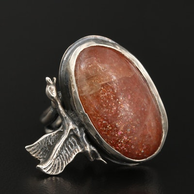 Sterling Silver Sunstone Goose Ring