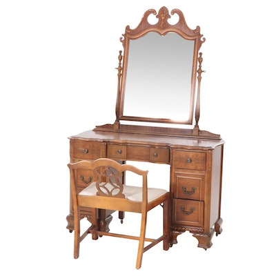 W.M. Bassett Co. Colonial Revival Vanity, Mirror and Bench