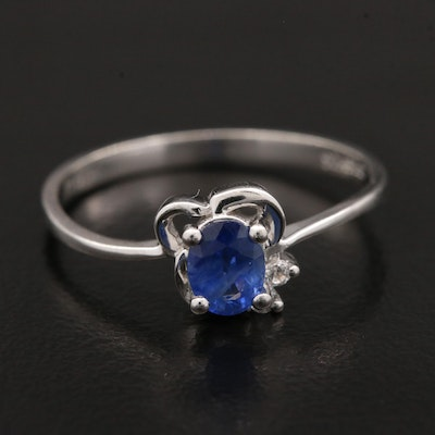 18K White Gold Blue Sapphire and Cubic Zirconia Ring