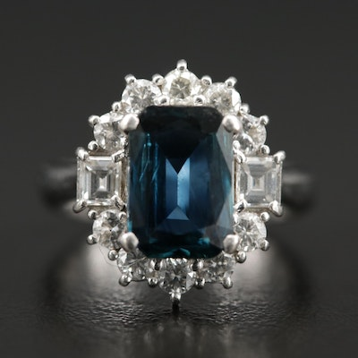 Platinum 2.63 CT Sapphire and 1.08 CTW Diamond Ring