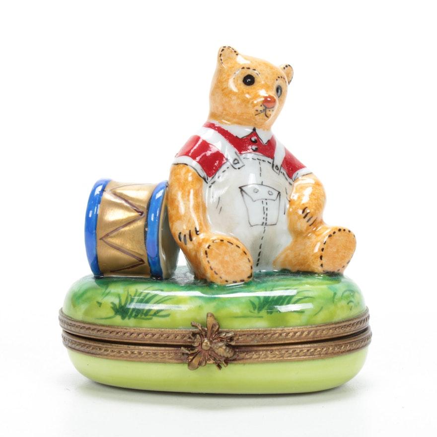 "Rochard Hand-Painted Porcelain ""Teddy Bear"" Limoges Box"
