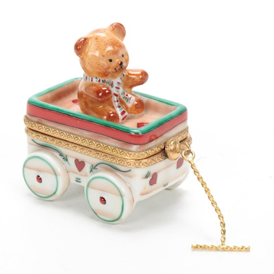 "French Hand-Painted Porcelain ""Teddy Bear Wagon"" Limoges Box"