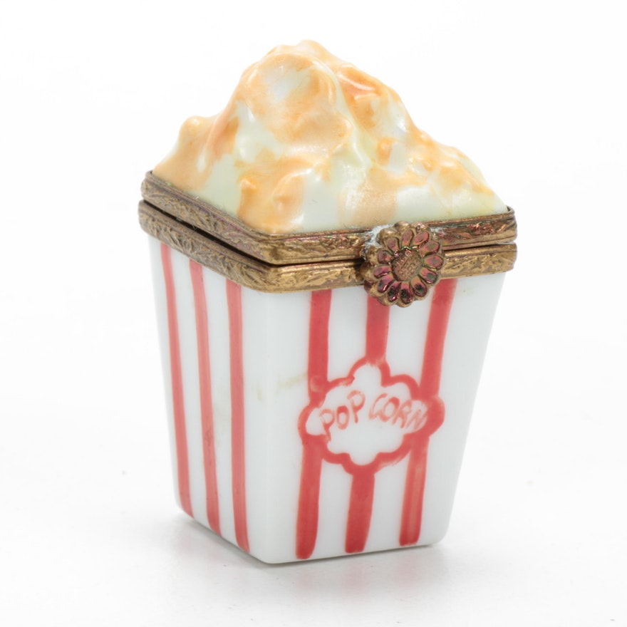 Hand-Painted Porcelain Popcorn Limoges Box