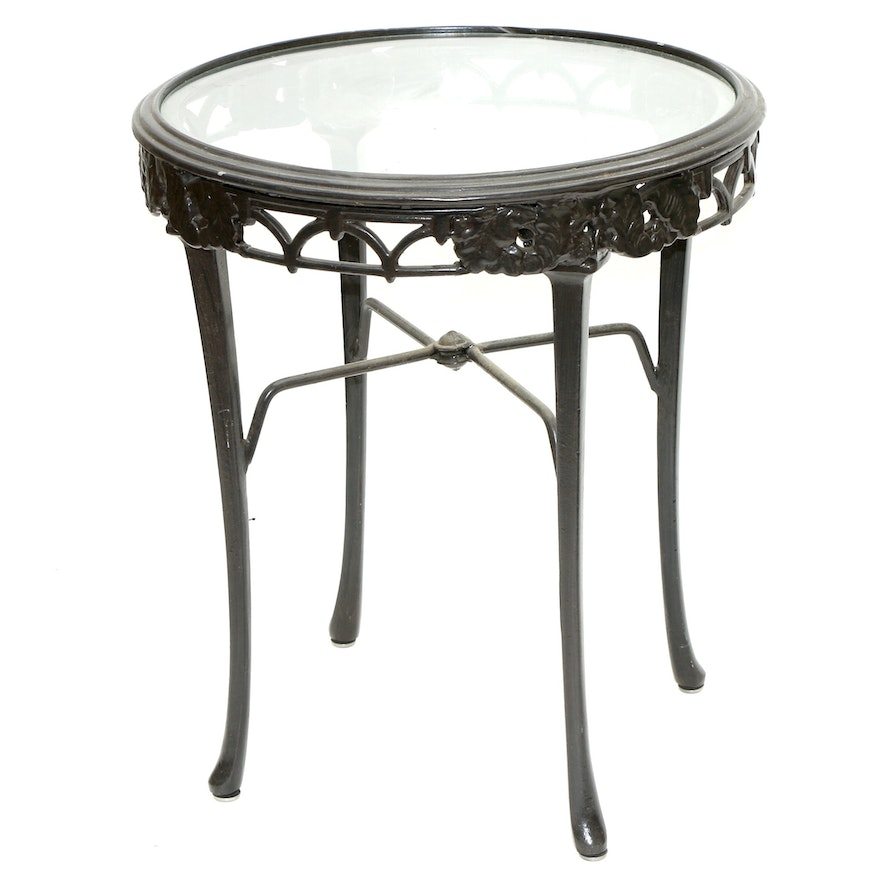 Glass-Top Black-Painted Metal Side Table
