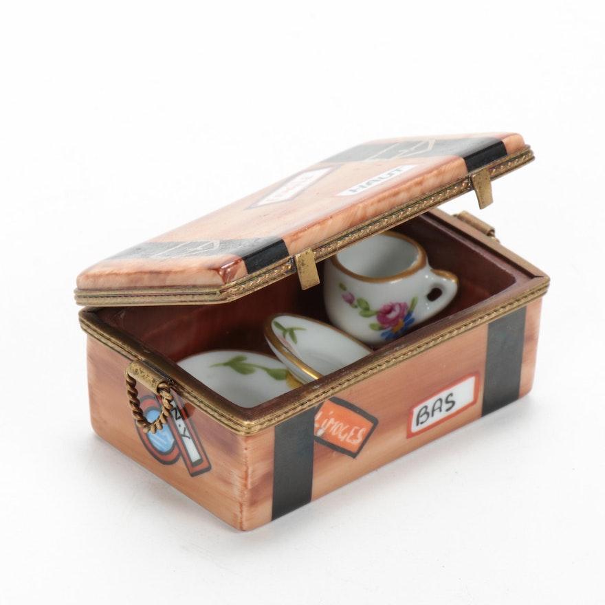Rochard Hand-Painted Porcelain Trunk Limoges Box