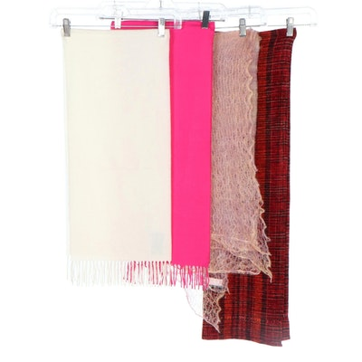 Open Weave Mohair Shawl, Off-White Wool Fringed Scarf and More Scarves