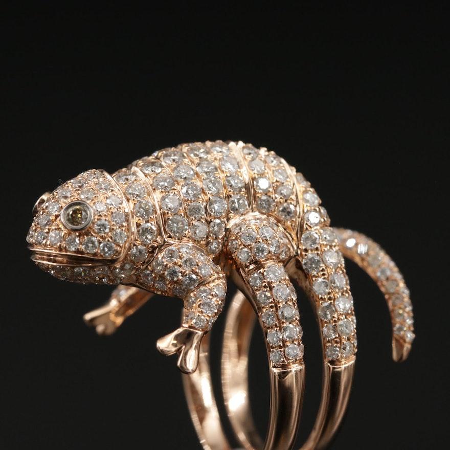 18K Gold 3.68 CTW Diamond Salamander Ring