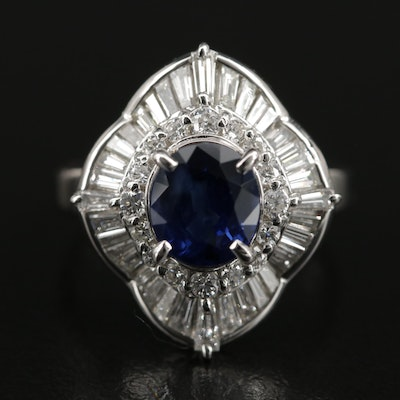 Platinum 1.70 CT Sapphire and 1.00 CTW Diamond Ballerina Ring