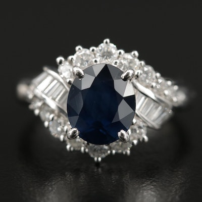 Platinum 2.76 CT Sapphire and Diamond Cluster Ring