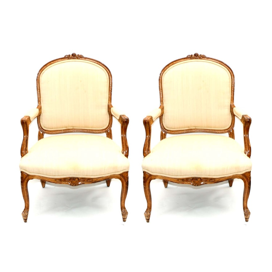 Pair of Louis XV Style Upholstered Beech Fauteuils, 20th Century
