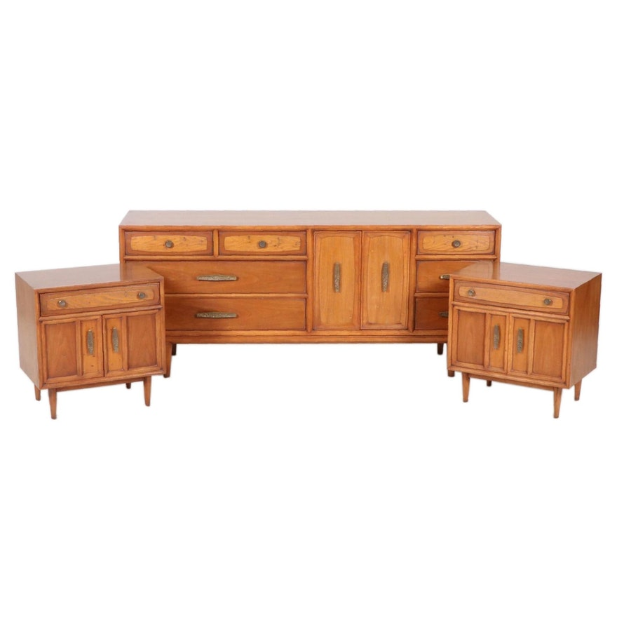 Drexel-Heritage Mid Century Modern Walnut Dresser and Nightstands, Mid-20th C.