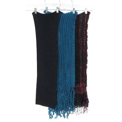 Zazou Luxe Black Silk Jersey Knit Scarf and Textured Fringed Scarves
