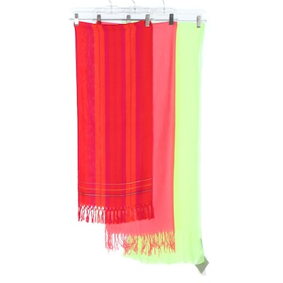 Echo Neon Green Crinkle Wrap with Pashmina Silk Fringed and Plaid Scarves