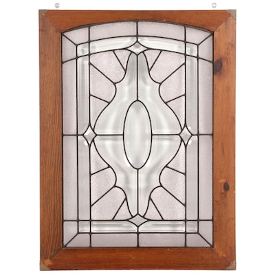Beveled and Pebbled Glass Leaded Window in Pine Frame