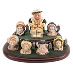 """Royal Doulton """"The Six Wives of King Henry VIII"""" Tiny Character Jugs"""