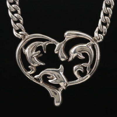 Sterling Silver Dolphin and Heart Motif Necklace
