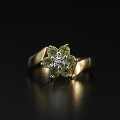 Sterling Silver Peridot and Diamond Ring