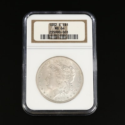NGC Graded MS64 1882-S Morgan Silver Dollar