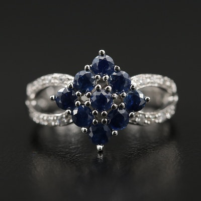 18K White Gold Sapphire and Cubic Zirconia Ring
