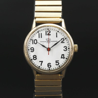 Ball Official Standard Gold Filled Stem Wind Wristwatch