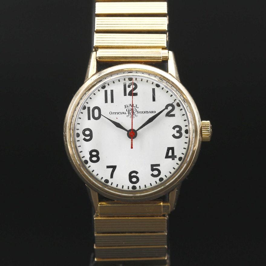 Ball Official Standard Gold Filled Stem Wind Wristwatch