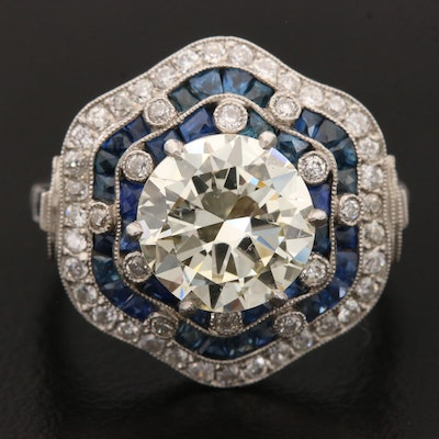 Art Deco Platinum 3.63 CTW Diamond and Blue Sapphire Ring