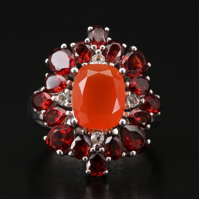 Sterling Silver Carnelian, Garnet and Sapphire Ring