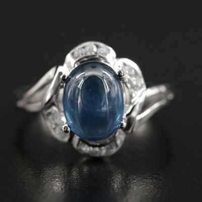 18K Gold Sapphire and Cubic Zirconia Ring