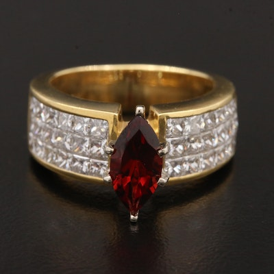 18K Yellow Gold Garnet and 1.80 CTW Diamond Ring