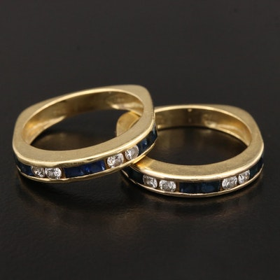 18K Blue Sapphire and Diamond Channel Rings