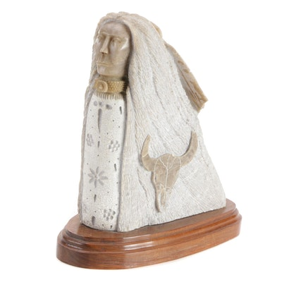 Native American Carved Stone Sculpture on Wood Base