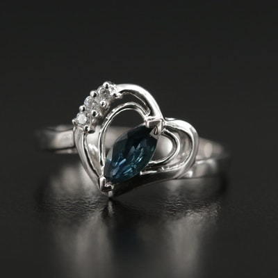 18K White Gold Sapphire and Cubic Zirconia Heart Ring