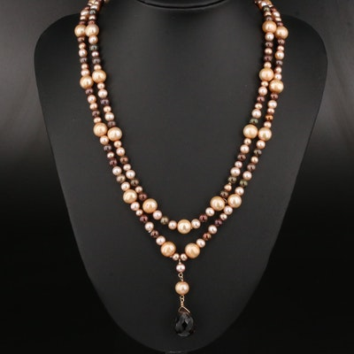 14K Smoky Quartz and Pearl Double Strand Drop Necklace