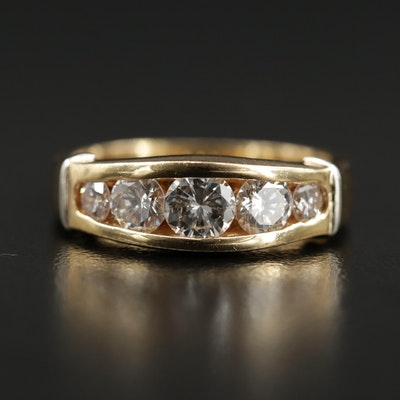 18K Gold 1.05 CTW Diamond Tapered Channel Ring