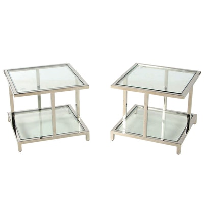 Glasscraft El Castillo Contemporary Modern Chrome and Glass Tiered End Tables