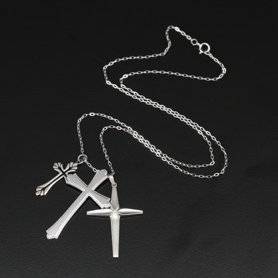 Sterling Silver Cross Pendants on Chain