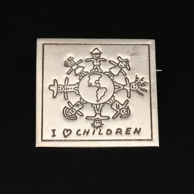 Sterling Silver 'I ♡ Children Converter' Brooch