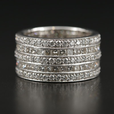 18K Gold 4.38 CTW Diamond Multi-Row Eternity Band