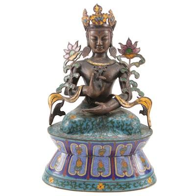 "Cloisonné Tibetan Tara Deity ""Shuni"" Mudra, 20th Century"