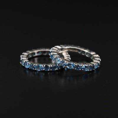 Sterling Silver Topaz Eternity Bands