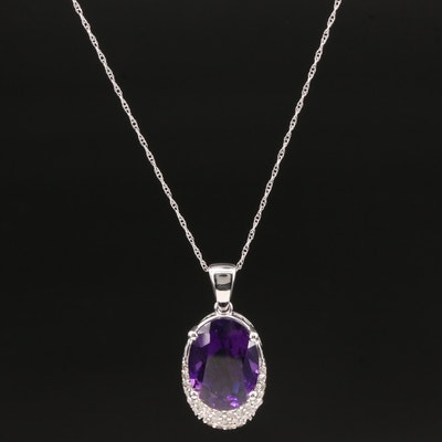 14K White Gold Amethyst and Diamond Pendant Necklace