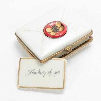Rochard Hand-Painted Porcelain Letter Envelope Limoges Box