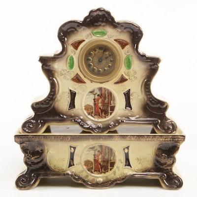 Italian Art Nouveau Style Hand-Painted Porcelain Mantel Clock, Late 19th Century