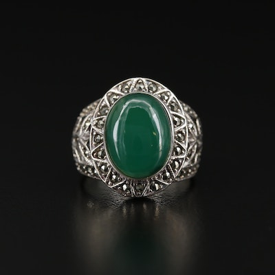 Sterling Silver Chalcedony and Marcasite Ring