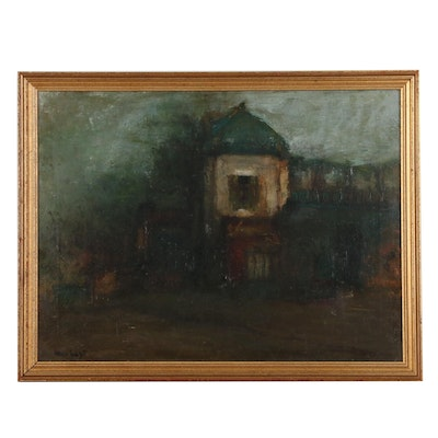 Louis Mazot French Street Scene Oil Painting , Mid-20th Century