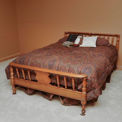 Full-Size Wooden Bed, Late 20th Century