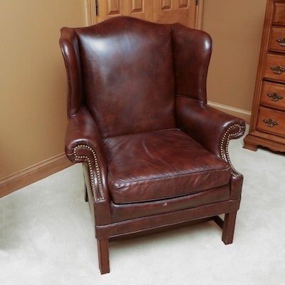 North Hickory Leather Wingback Armchair, Mid to Late 20th Century