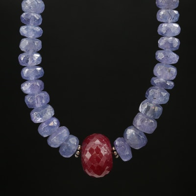 Beaded Tanzanite and Corundum Necklace with 14K Clasp