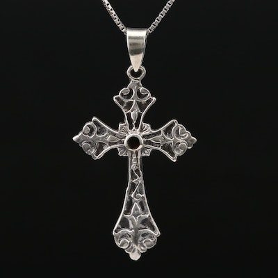 Sterling Black Onyx Cross Pendant Necklace