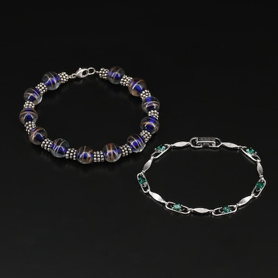 Sterling Silver Art Glass and Rhinestone Bracelet Featuring Van Dell